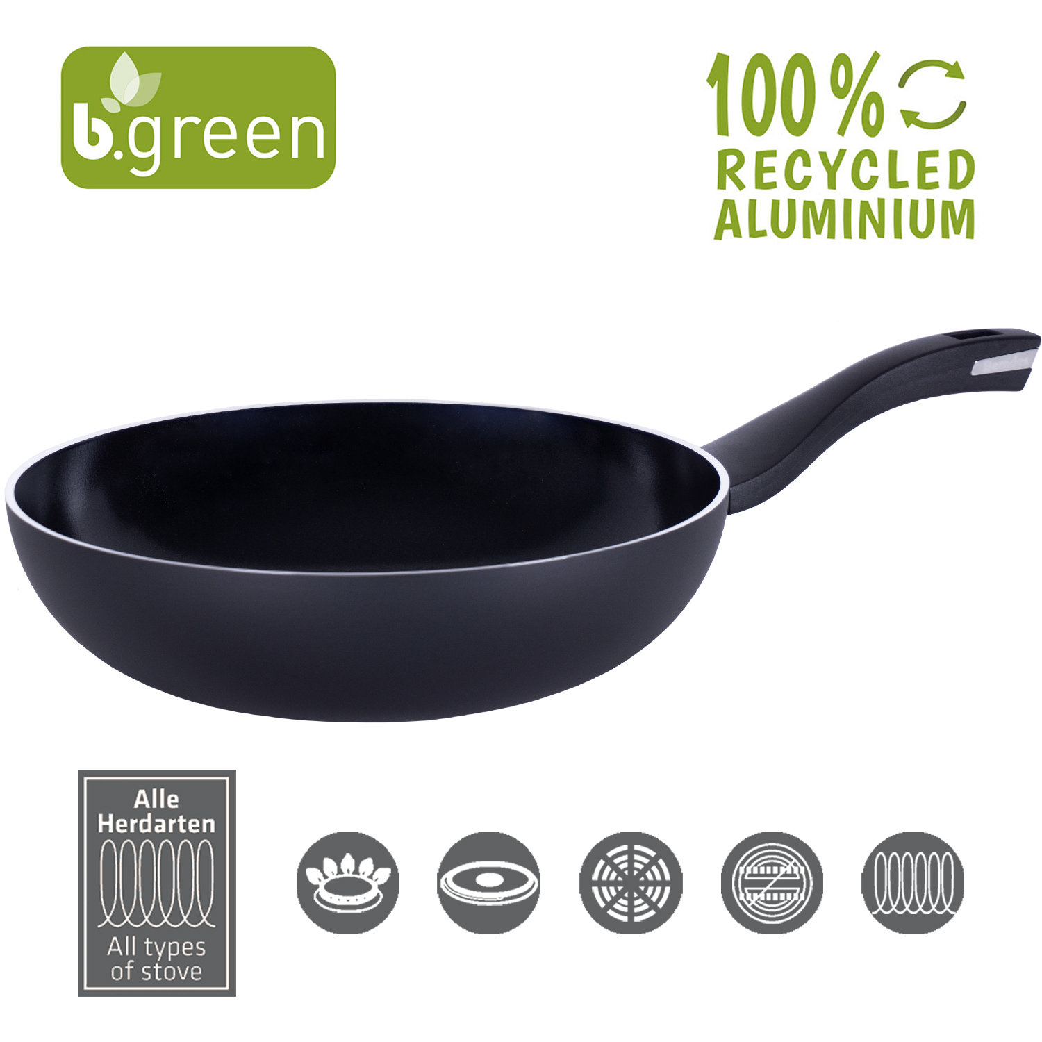 Berndes Wokpfanne b.green Alu Recycled Induction schwarz 28 cm
