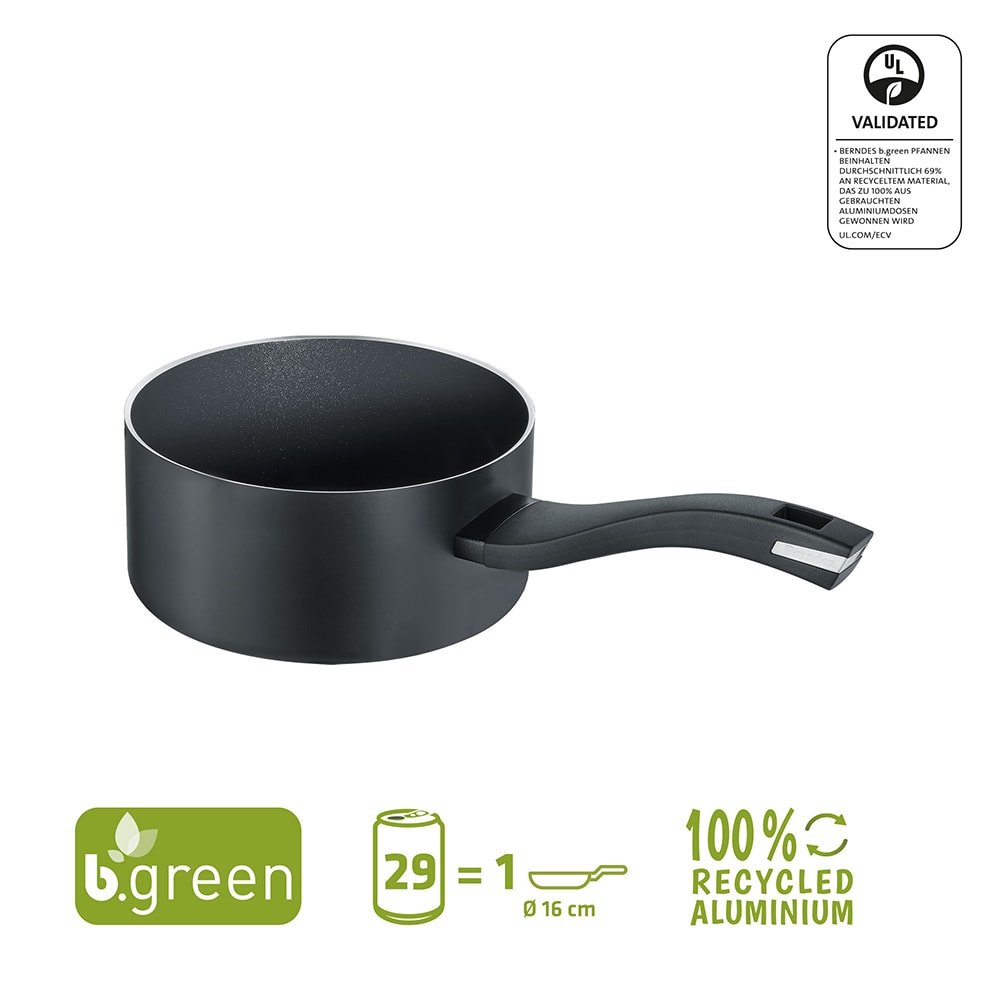 Berndes Stieltopf b.green Alu Recycled Induction schwarz 16 cm