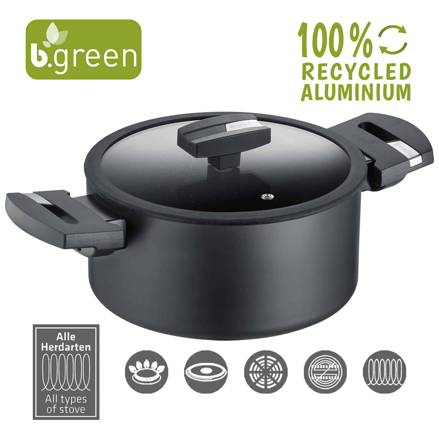 Berndes Kochtopf mit Glasdeckel b.green Alu Recycled Induction schwarz 24 cm