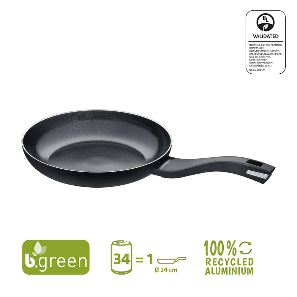 Berndes Bratpfanne b.green Alu Recycled Induction schwarz 24 cm