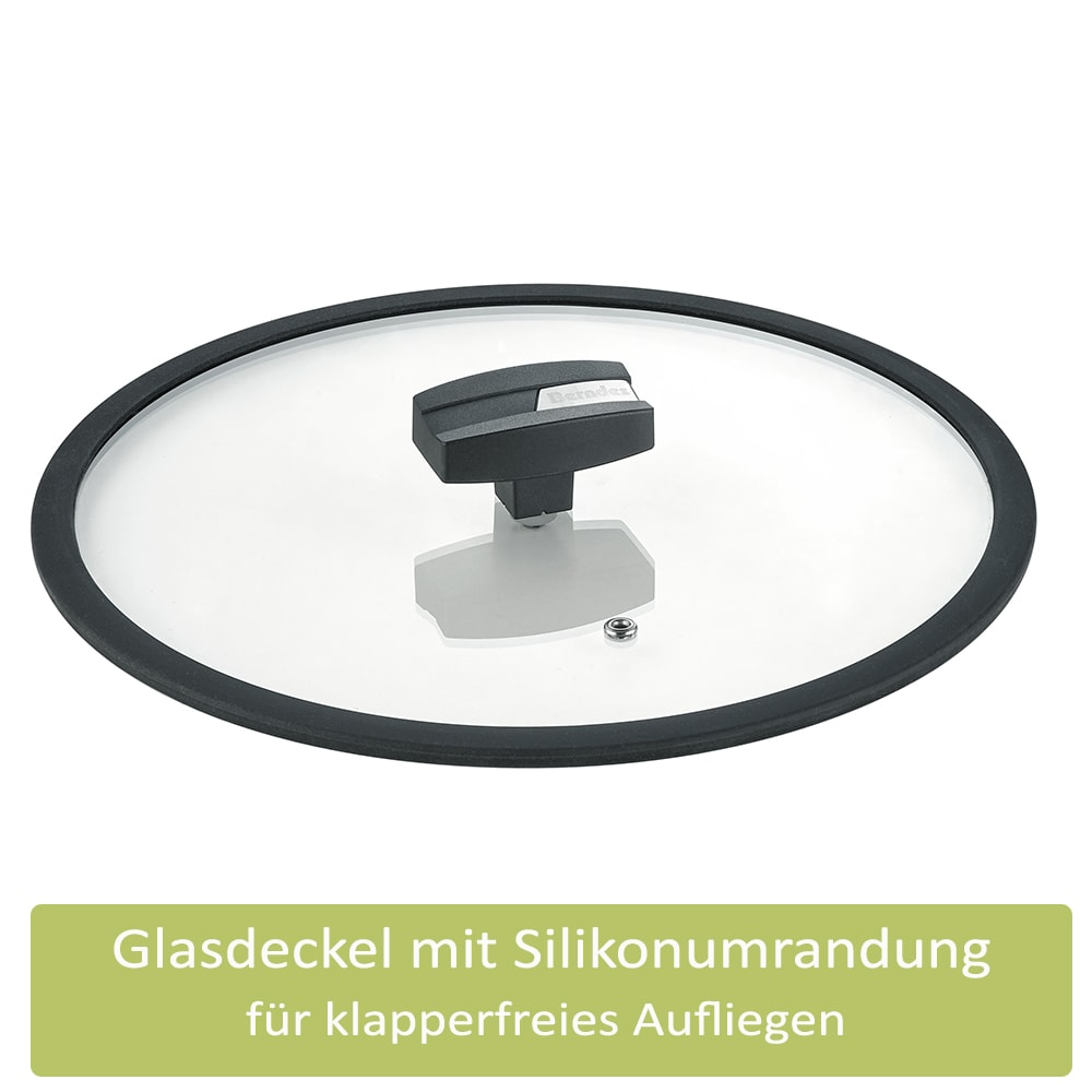 Berndes Schmorpfanne Glasdeckel Gegengriff b.green Alu Recycled Induction schwarz 28 cm