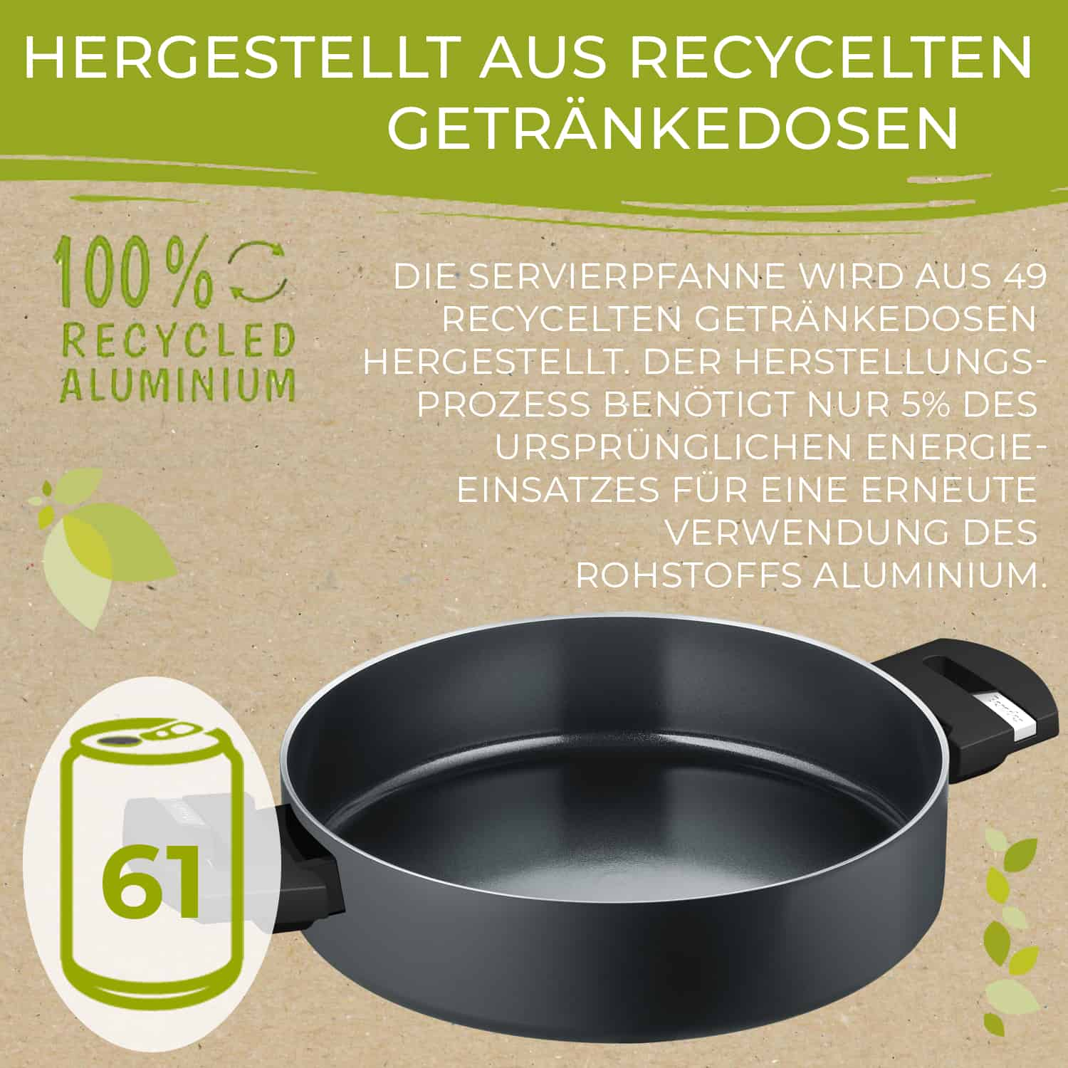 Berndes Servierpfanne mit Glasdeckel b.green Alu Recycled Induction schwarz 28 cm