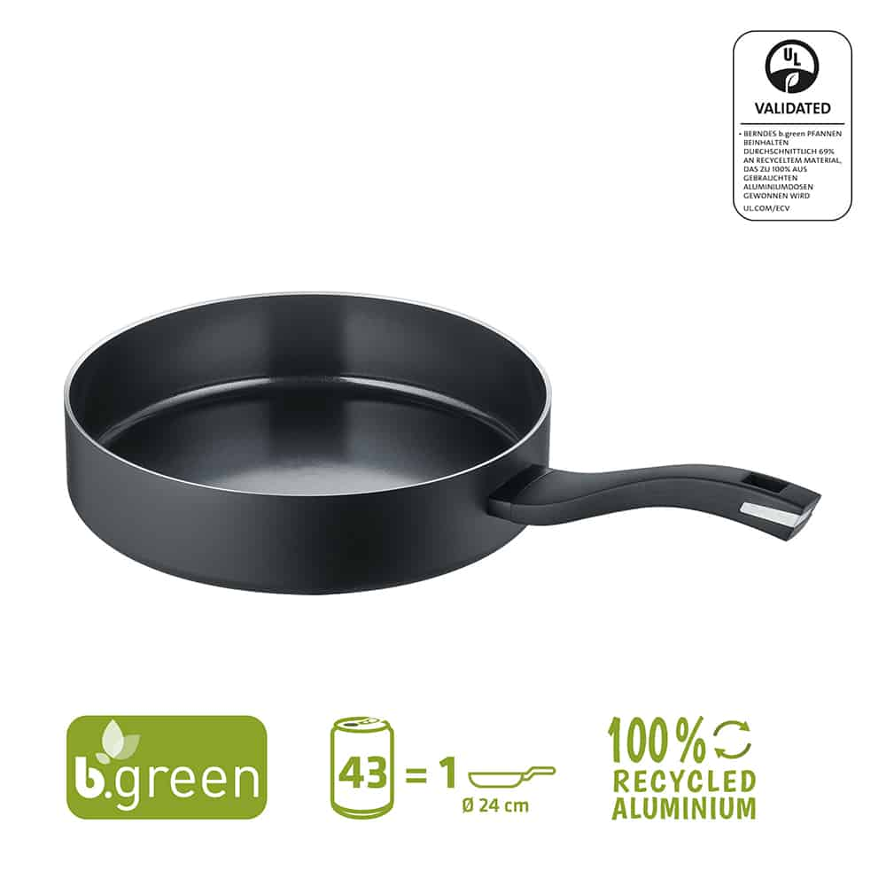 Berndes Schmorpfanne mit Glasdeckel b.green Alu Recycled Induction schwarz 24 cm