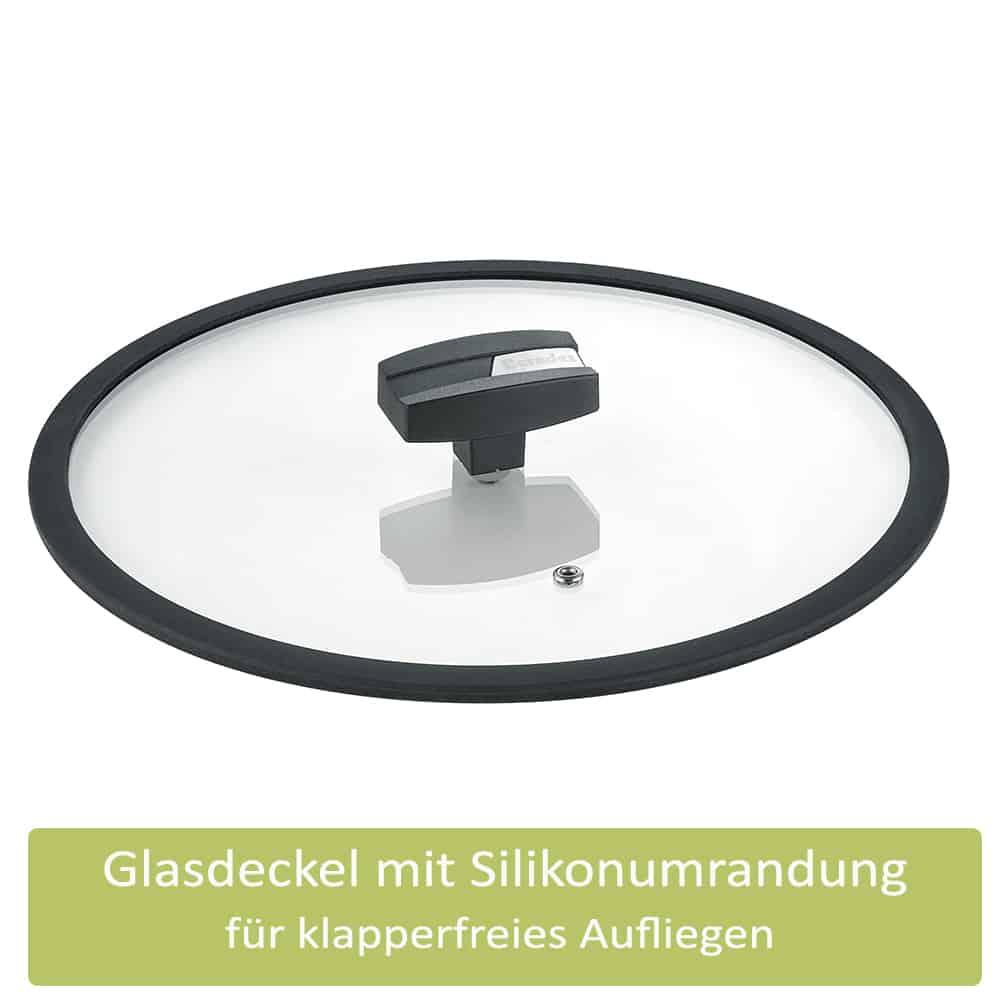 Berndes Servierpfanne mit Glasdeckel b.green Alu Recycled Induction schwarz 28 cm